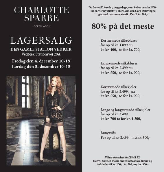 Charlotte Sparre lagersalg;
