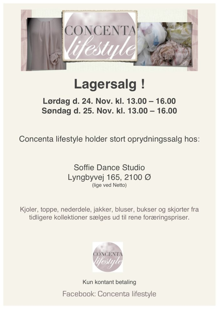 Concenta lifestyle lagersalg;