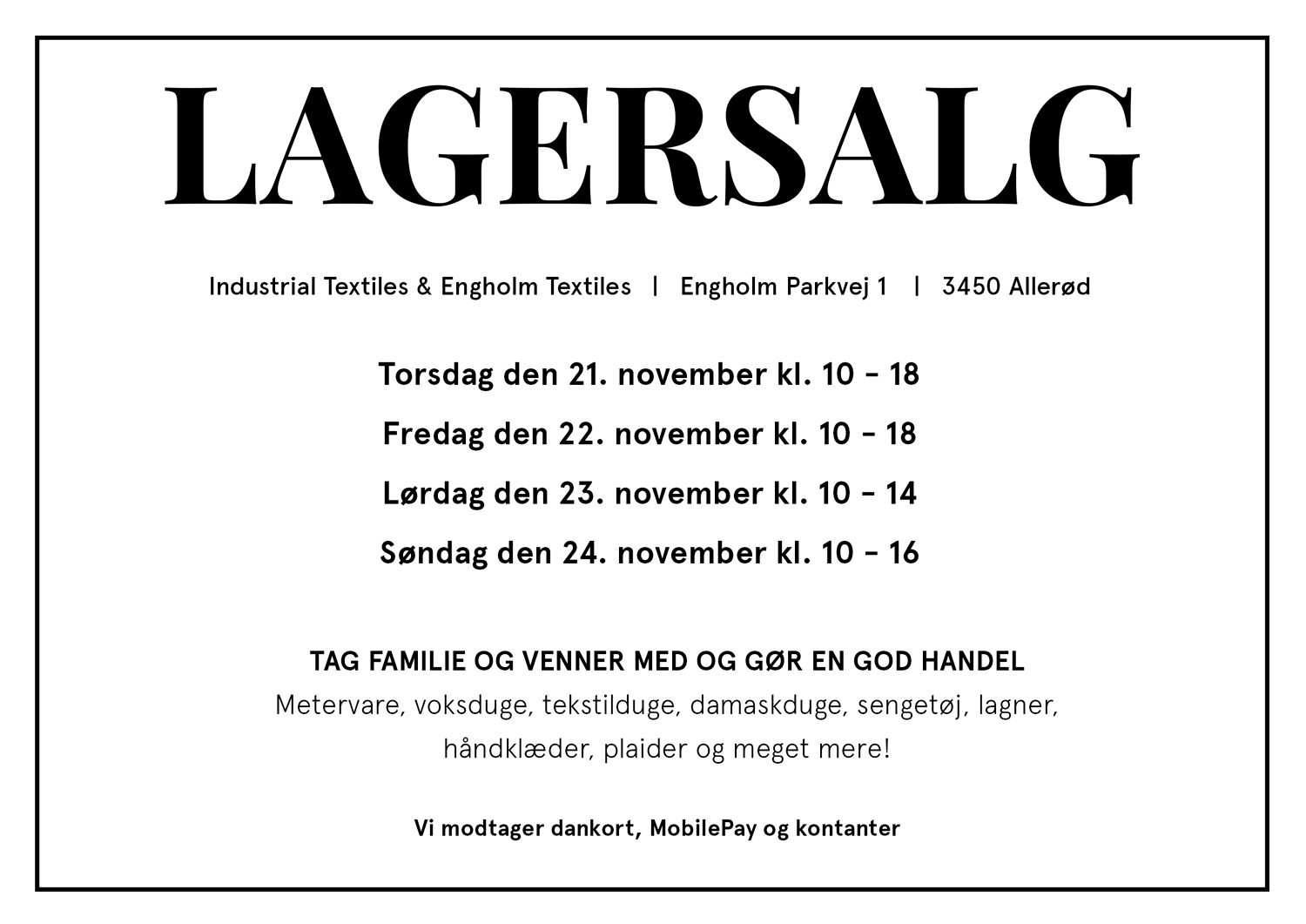Engholm Textiles Lagersalg;