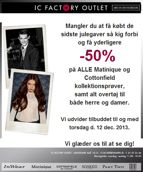 IC Factory Outlet Kollektionssalg;