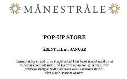 Månestråle pop-up Outlet;